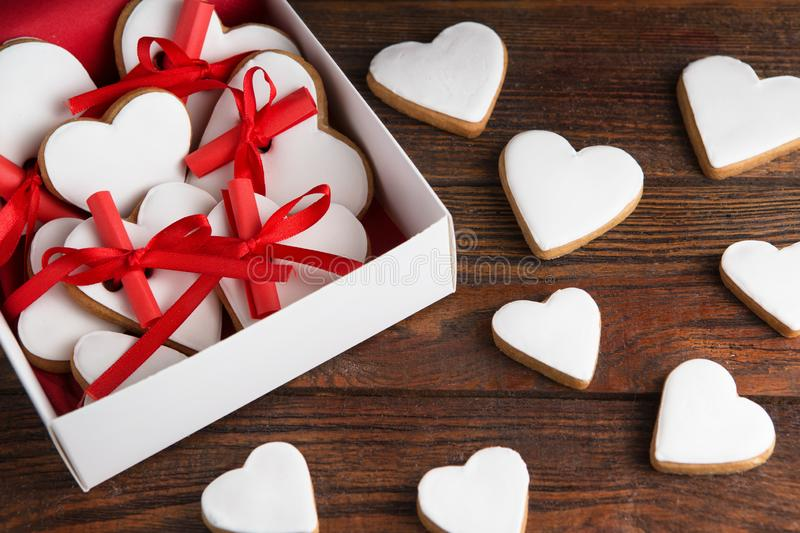 Glazed heart shaped cookies for Valentine`s day - delicious homemade natural organic pastry, baking with love for Valentine`s da royalty free stock photography