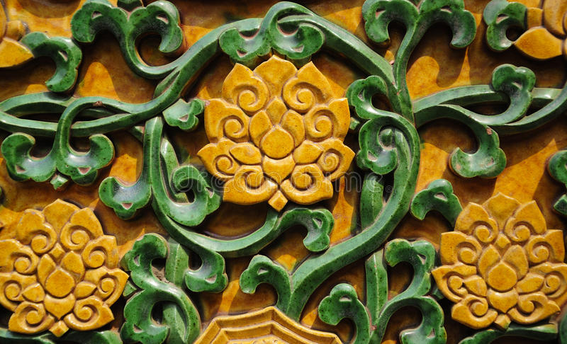 Glazed lotus background. A glazed tile lotus flower background within the forbidden city in beijing china stock images