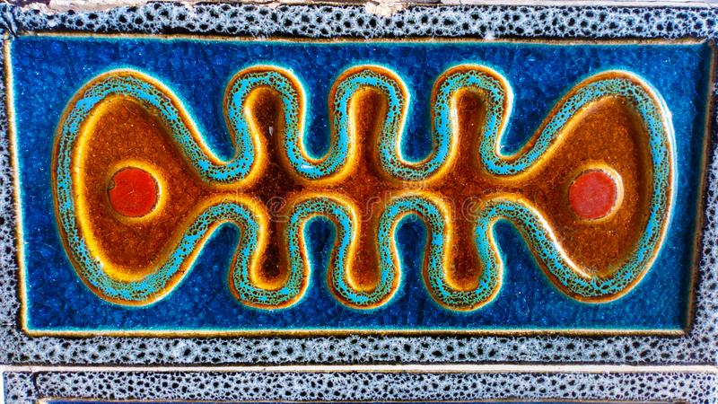 Glazed Tiles Retro Pattern, Colorful Portuguese Street Art, Backgrounds, Travel Portugal stock image