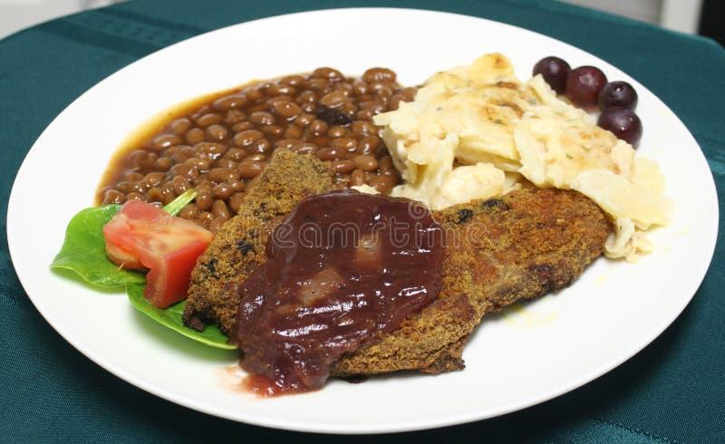 Download Glazed pork chop meal stock image. Image of meal, green - 608829