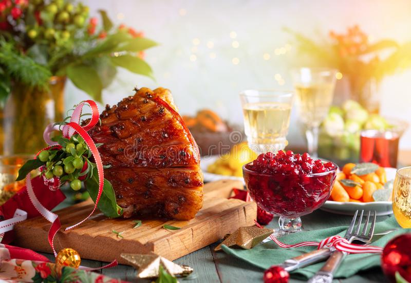 Christmas dinner with side dishes royalty free stock image