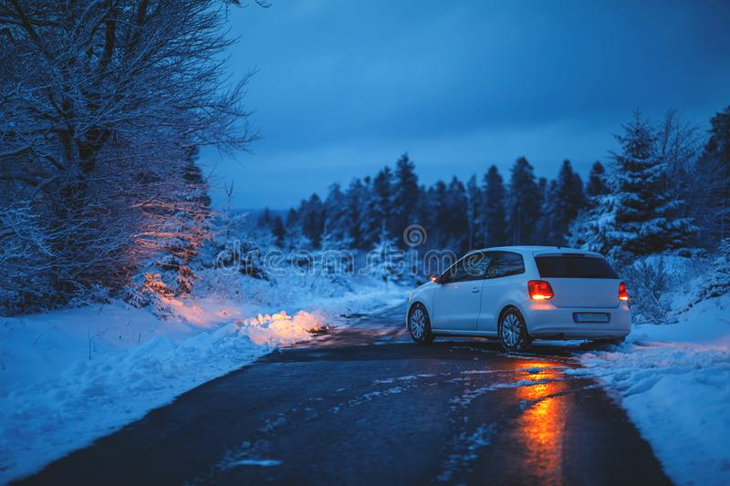 Glazed Street Accident. In Winterime in West Germany royalty free stock images