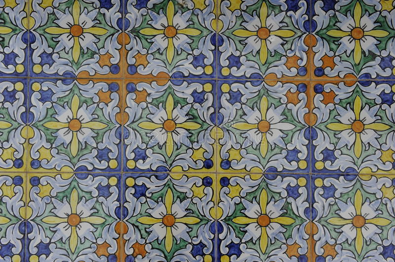 Glazed Tile Design. Typical colorful glazed tile design of Andalusia, Spain stock photos