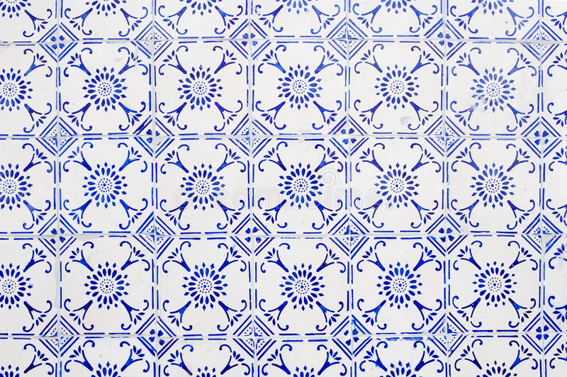 Glazed tiles. With blue and white simple pattern stock image