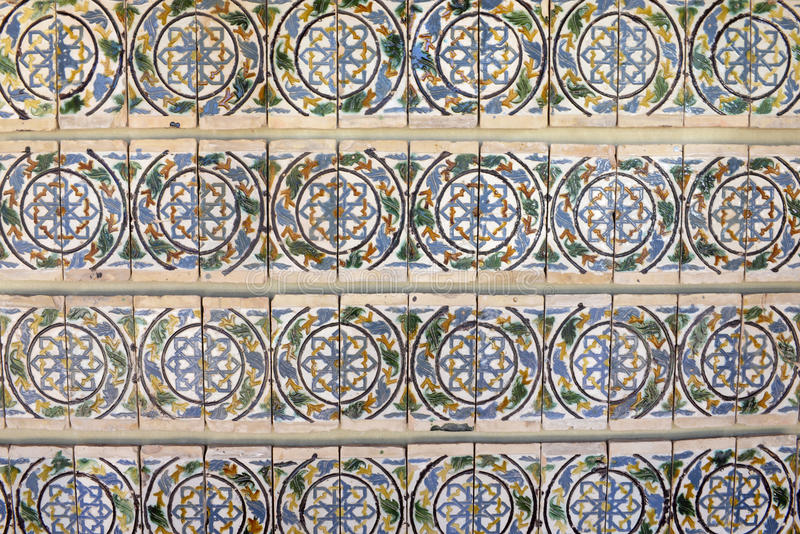 Portuguese Glazed Tiles Wall, Handmade, Textures, Art royalty free stock photo