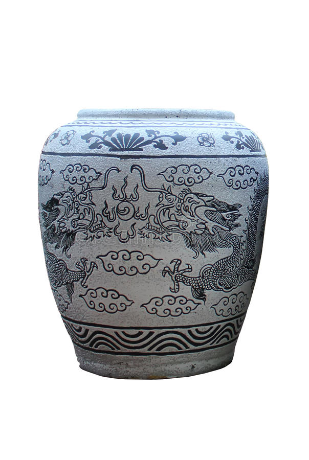 Glazed water jar with dragon pattern Ratchaburi Th. Glazed water jar with dragon pattern on white background royalty free stock image