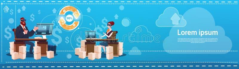 Glazen die van de bedrijfsman en Vrouwenslijtage de Digitale Virtuele Werkelijkheid de Werkende Plaatslaptop zitten van het Burea royalty-vrije illustratie