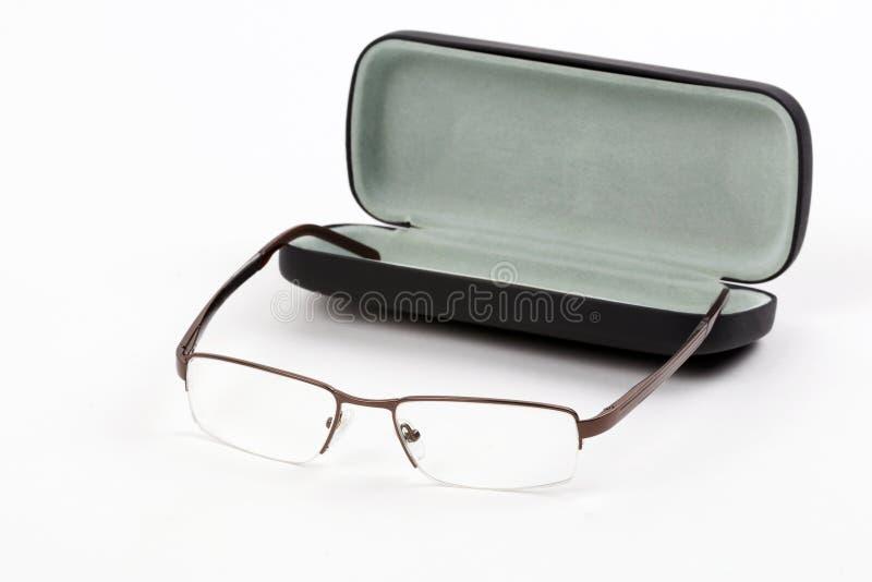 Glazen in een geval stock afbeeldingen