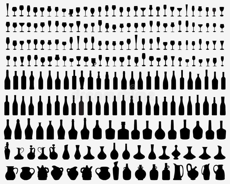 Glazen en flessen vector illustratie
