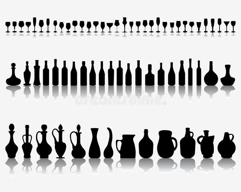 Glazen en flessen wijn vector illustratie