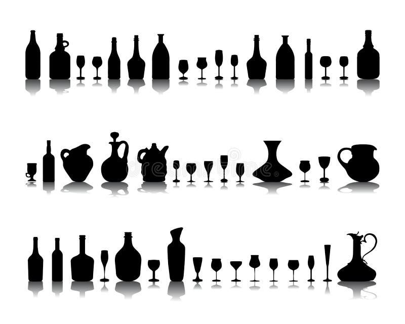 Glazen en flessen wijn royalty-vrije illustratie