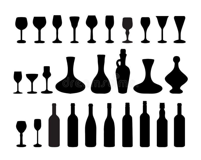 Glazen en flessen wijn 2 vector illustratie