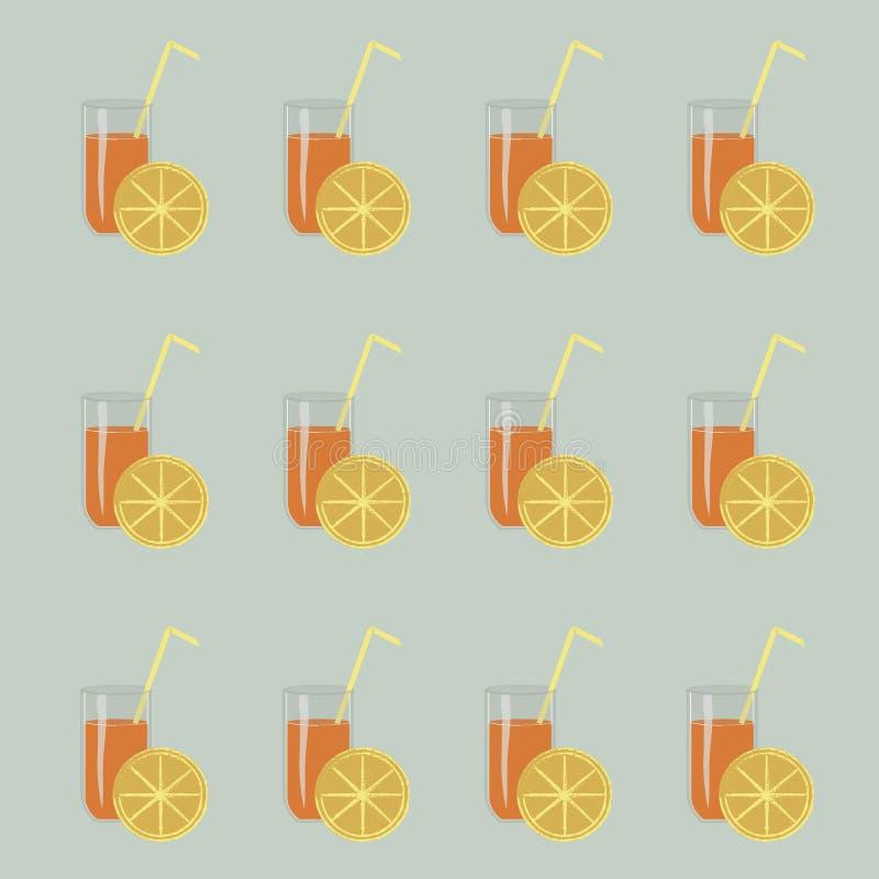Glazen jus d'orange, geel stro, plakken van citroenen op lichtblauwe achtergrond Textuur royalty-vrije illustratie