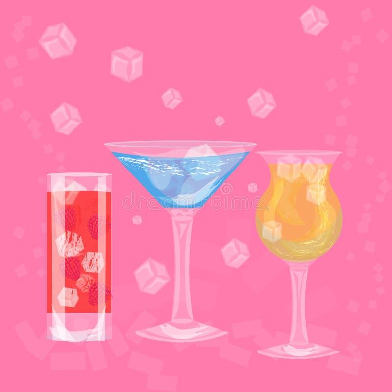 Glazen kleurrijke dranken met ijsblokjes, reeks van de zomer tropische die cocktail op roze achtergrond wordt geïsoleerd royalty-vrije illustratie