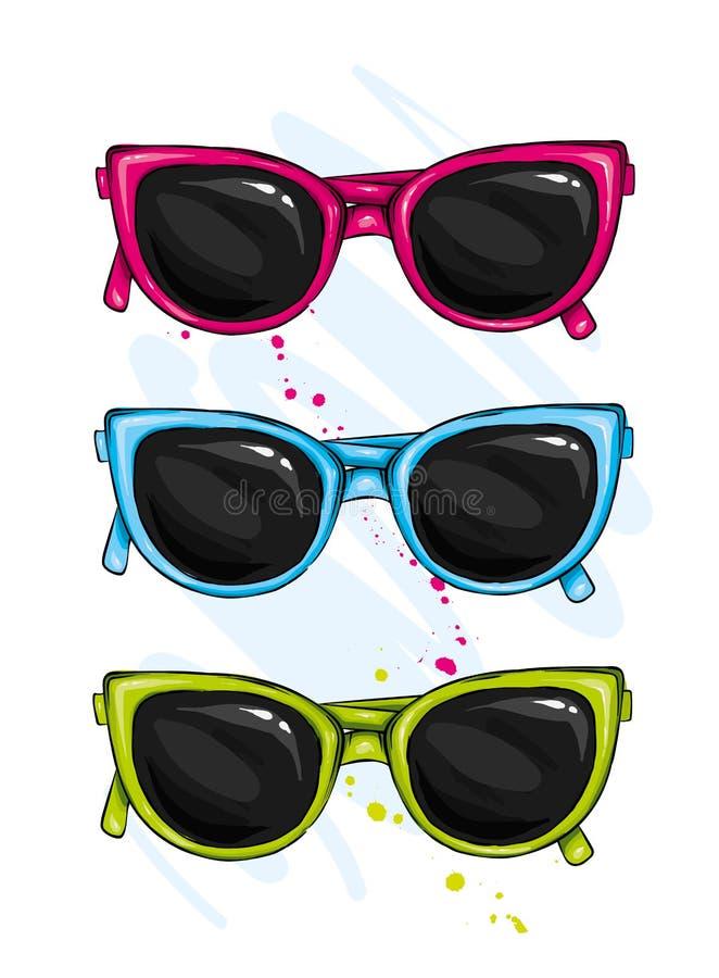 Glazen kleurrijke vector vastgestelde illustratie Geïsoleerde de reeks van glazenvecto Het symbool van de glazenzomer stock illustratie