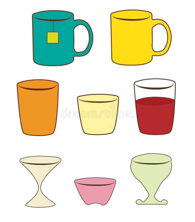 Glazen, koppen, mokkenillustratie stock foto's