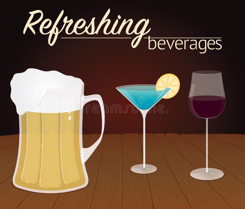Glazen met alcoholische dranken op hout stock afbeelding