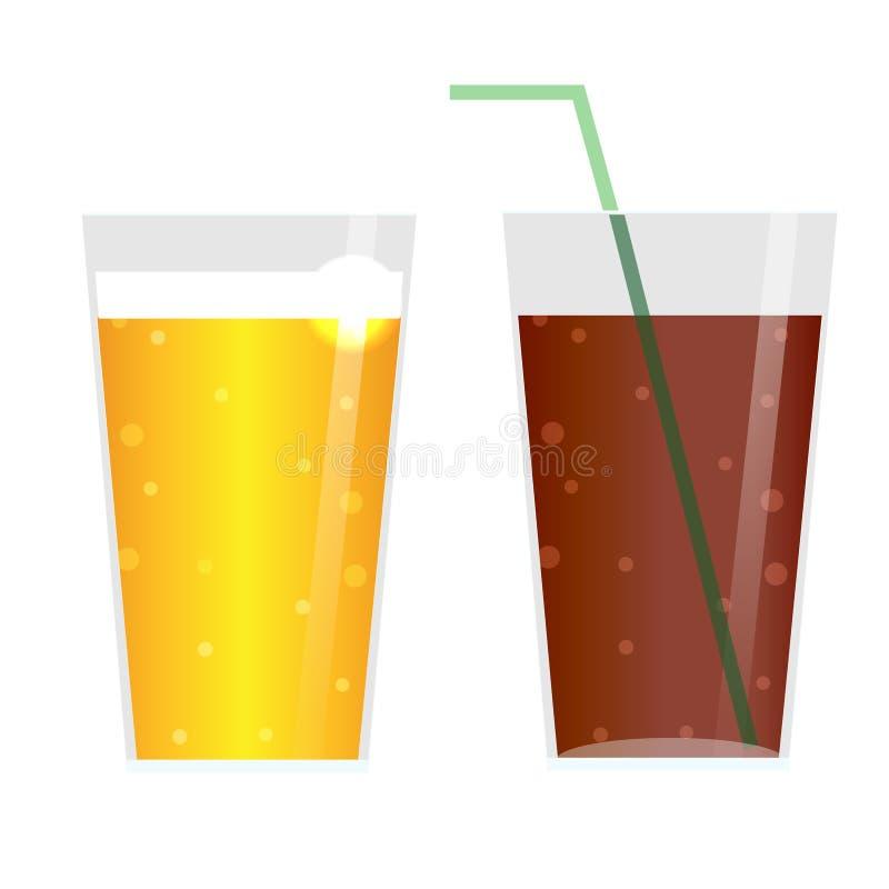 Glazen met bier, cider, limonade of ijsthee Drankenpictogrammen, geïsoleerde ontwerpelementen stock illustratie