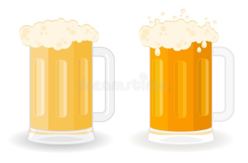 Glazen met een bier stock illustratie