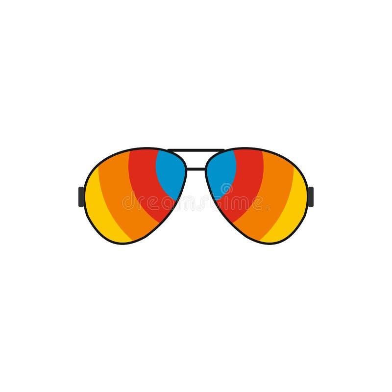 Glazen met het pictogram van regenbooglenzen, vlakke stijl vector illustratie