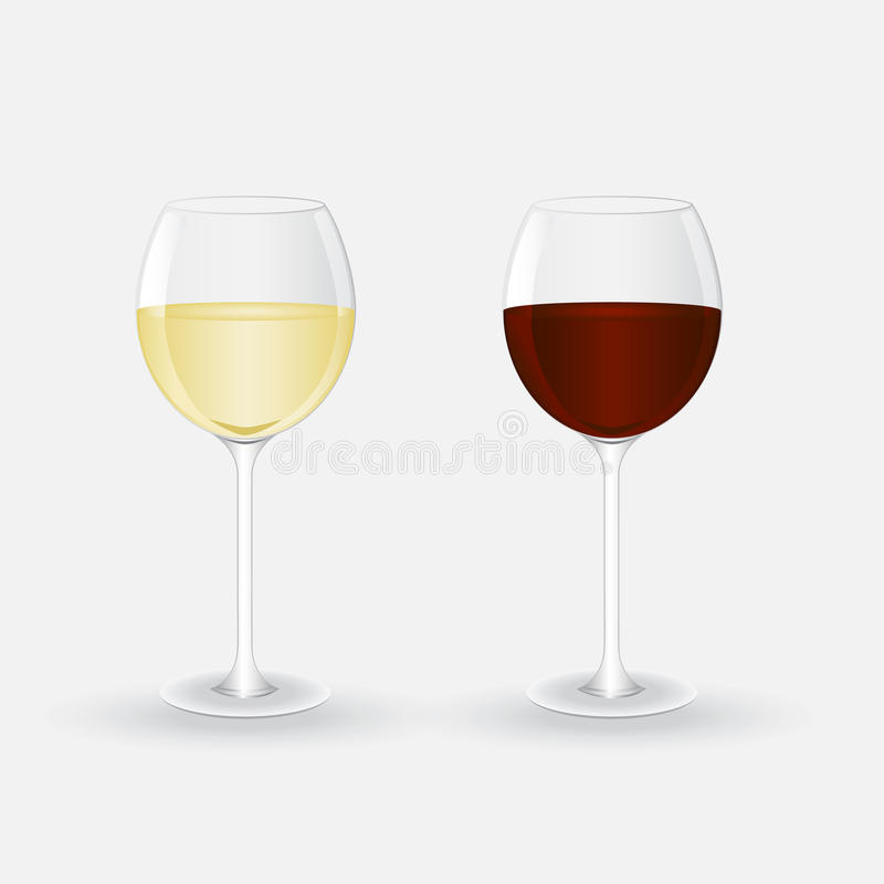 Glazen met witte en rode wijn royalty-vrije stock fotografie