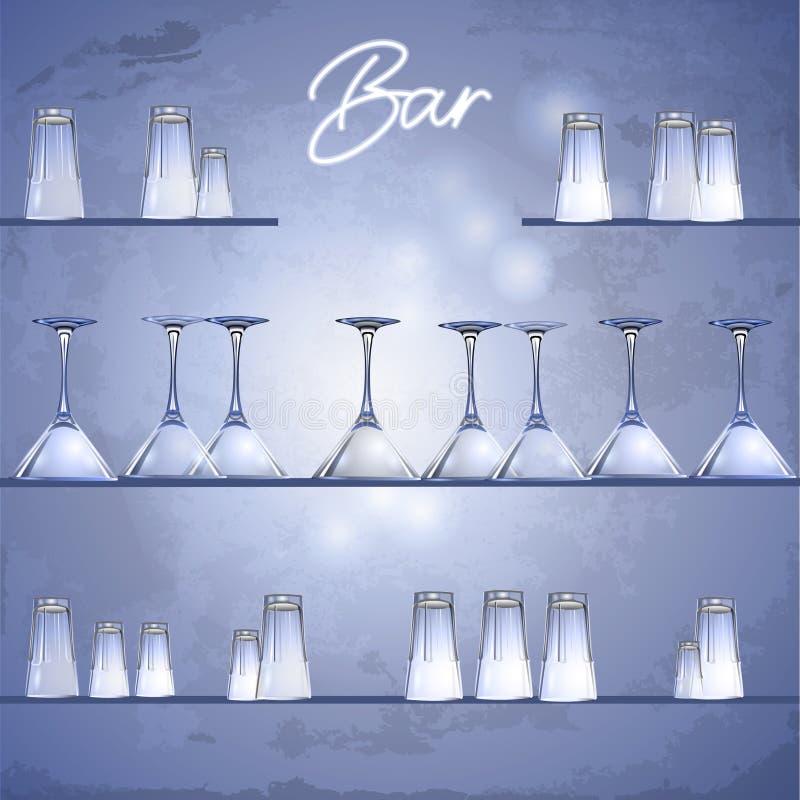 Glazen op de bar shelfs vector illustratie