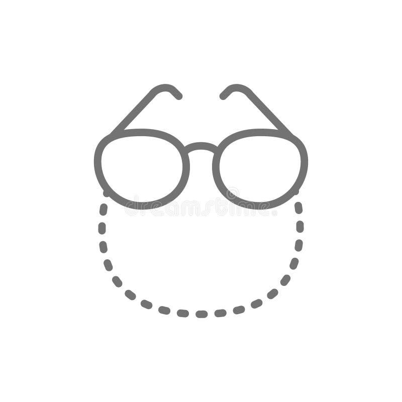 Glazen op een pictogram van de kettingslijn stock illustratie