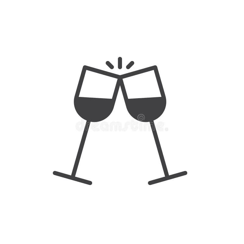 Glazen van de vector van het wijnpictogram stock illustratie