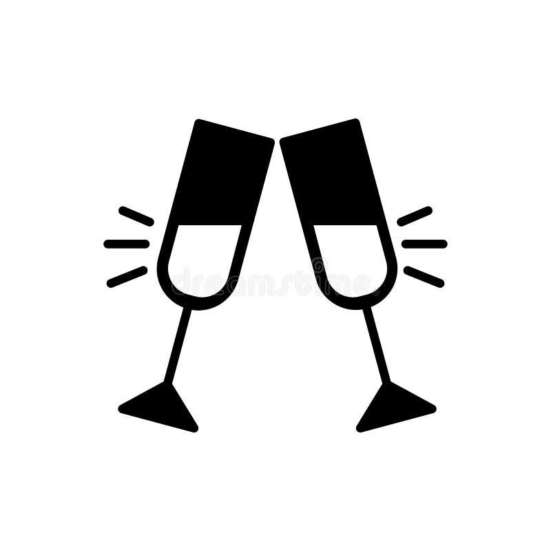 Glazen van vector, vlakke stevige pictogram van het champagne het clinking pictogram dat op wit wordt geïsoleerd Paar van de toe royalty-vrije illustratie