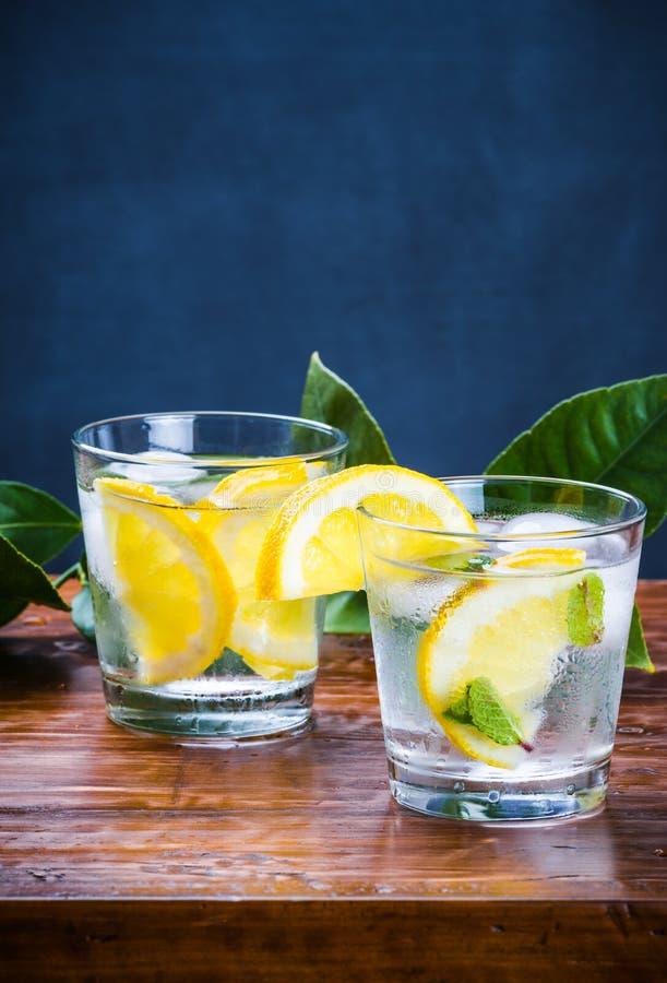 Glazen van verse drank met ijs, munt en plakken van citroen stock fotografie