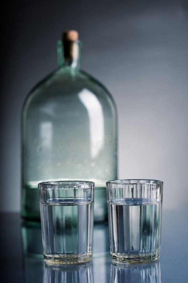 Glazen Van Wodka En Een Fles Royalty-vrije Stock Afbeelding