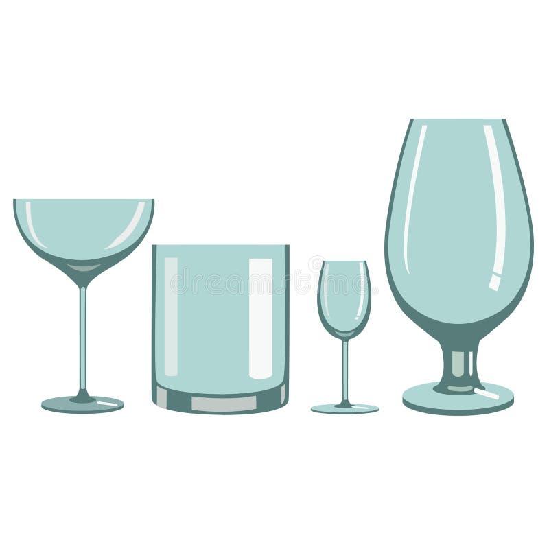 Glazen voor alcoholische dranken stock illustratie