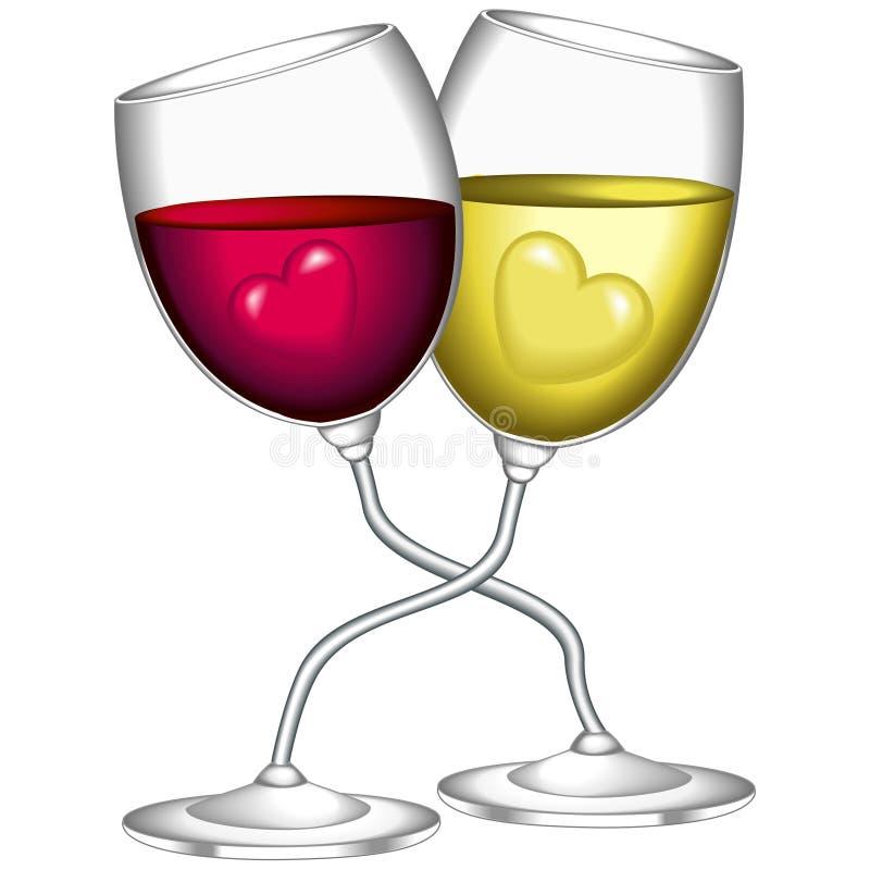 Glazen wijn stock illustratie