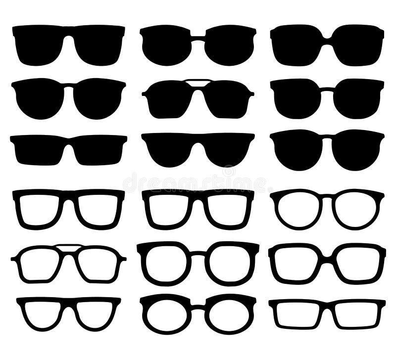 Glazensilhouet Geek eyewear, koele zonnebril en de vectorinzameling van oogglazensilhouetten vector illustratie