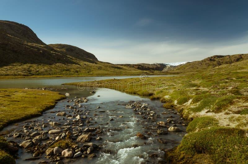Glazial- Fluss, der von der Gletscherfront des greenlandic Gletschers, Kangerlussuaq, Grönland fließt lizenzfreie stockbilder
