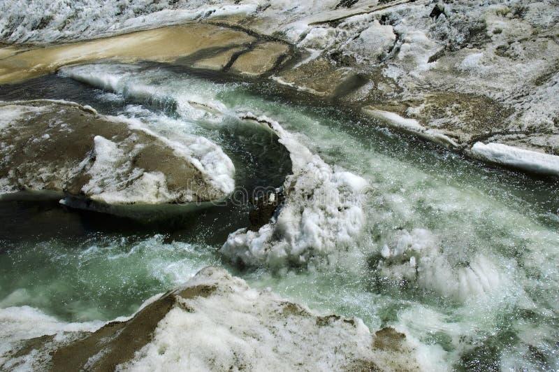 Glazial- Ströme auf einem Gebirgsgletscher. stockbilder