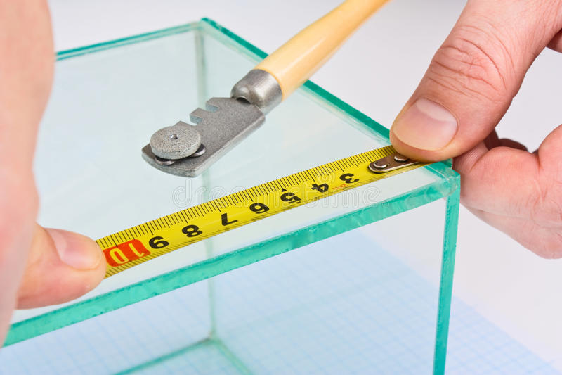 Glazier glass measuring tape. Measure royalty free stock photography
