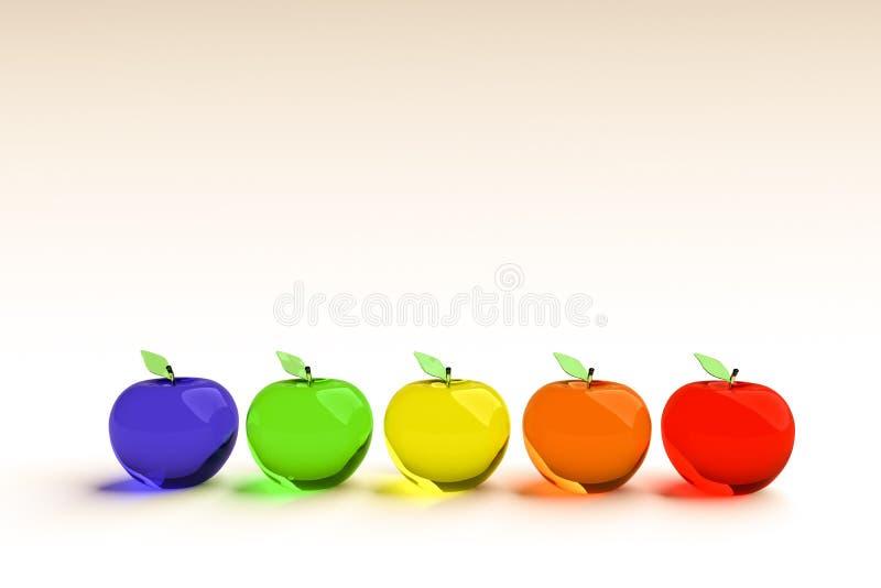 Glazige appel, gloeiende appel, 3d model Kleurrijke glazige appel Blauwe, groene, gele, oranje en rode 3D appelen royalty-vrije stock afbeeldingen