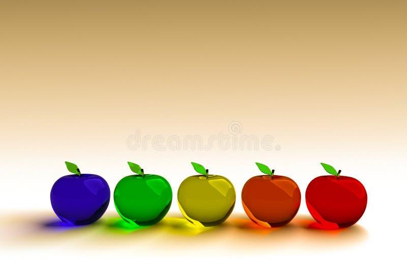 Glazige appel, gloeiende appel, 3d model Kleurrijke glazige appel Blauwe, groene, gele, oranje en rode 3D appelen stock foto's