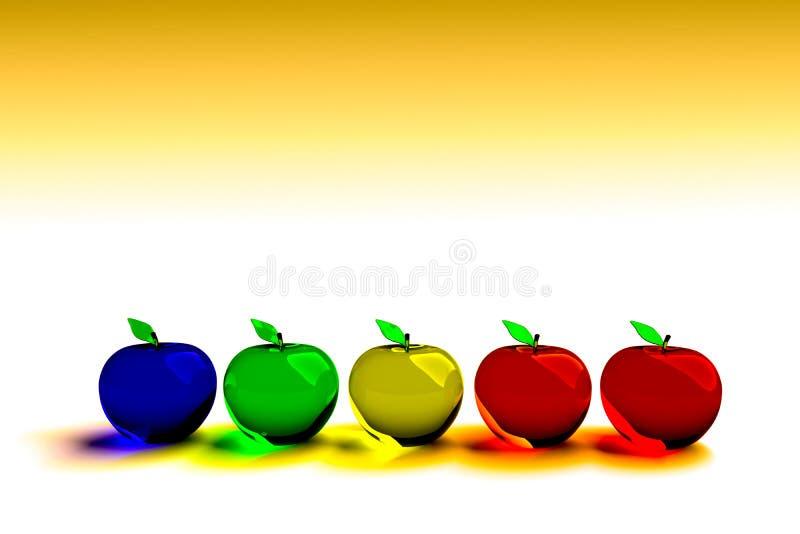 Glazige appel, gloeiende appel, 3d model Kleurrijke glazige appel Blauwe, groene, gele, oranje en rode 3D appelen stock afbeelding