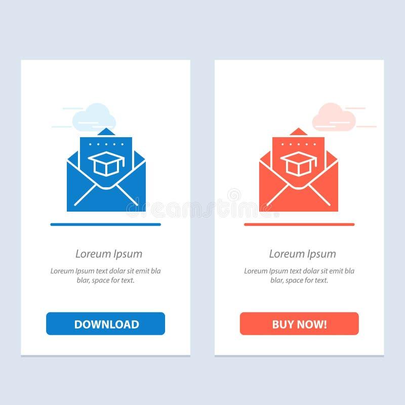 GLB, Onderwijs, Graduatie, post Blauwe en Rode Download en koopt nu de Kaartmalplaatje van Webwidget royalty-vrije illustratie