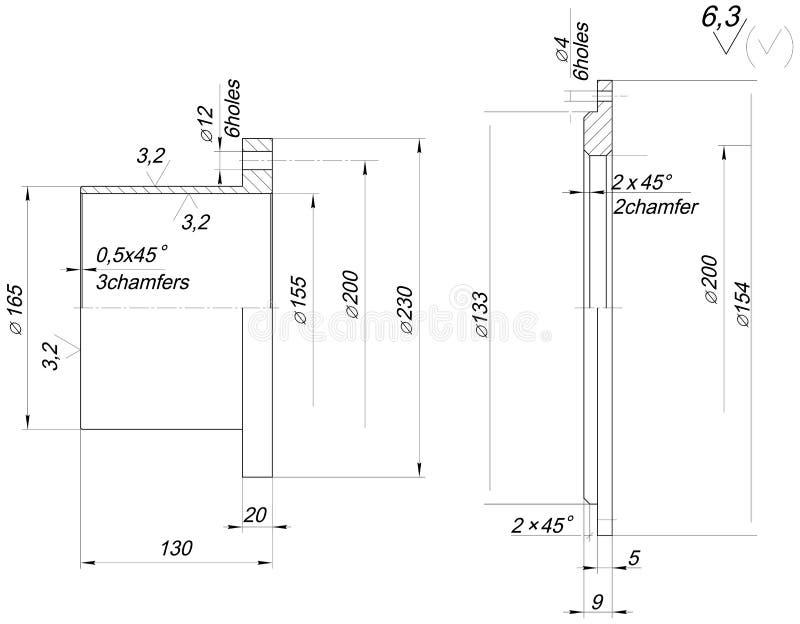 GLB-schets met afkantingen Toestel, schakelnet, potlood en ontwerp stock illustratie
