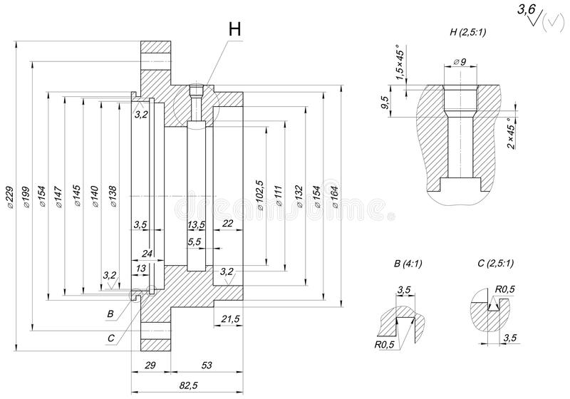 GLB-schets met het uitbroeden Toestel, schakelnet, potlood en ontwerp royalty-vrije illustratie