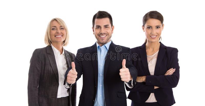 Gleichberechtigung der Geschlechter: ein Mann mit der zwei Geschäftsfrau lokalisiert über w stockfotografie