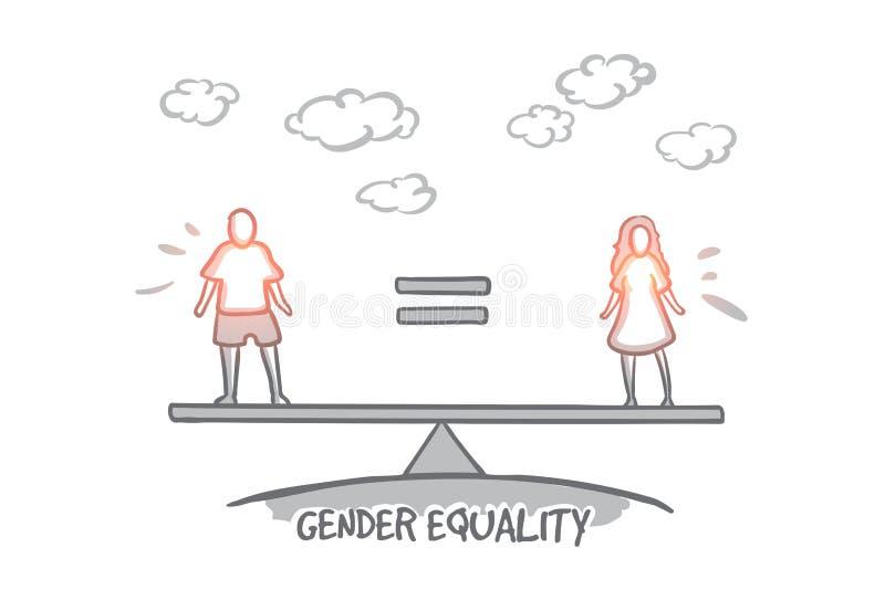 Gleichberechtigung der Geschlechter-Konzept Hand gezeichneter lokalisierter Vektor stock abbildung