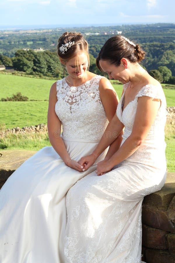 Gleichgeschlechtliche ländliche Hochzeit lizenzfreie stockbilder