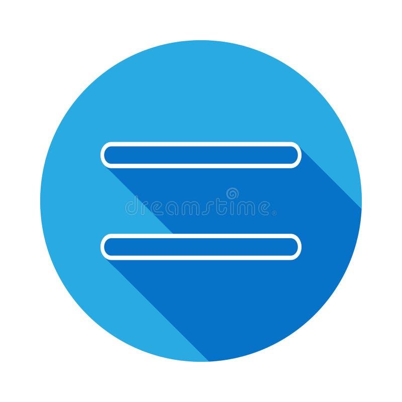 Gleichheitszeichenikone mit langem Schatten Dünne Linie Ikone für Websitedesign und Entwicklung, APP-Entwicklung Erstklassige Iko lizenzfreie abbildung