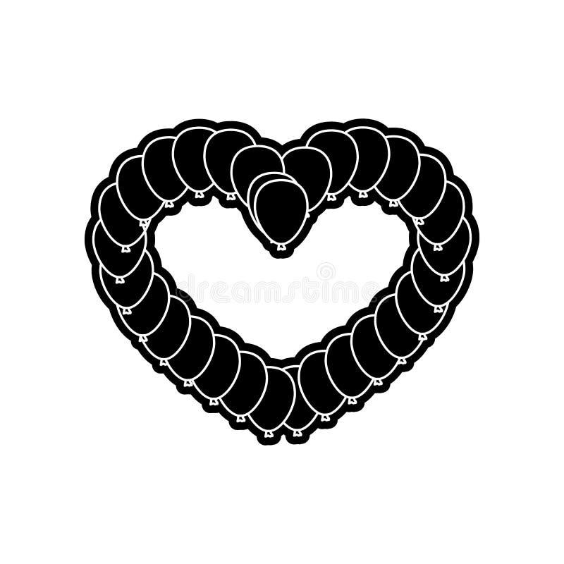 Gleiskettenfahrzeug in Form der Herzikone Element des Valentinsgru?es f?r bewegliches Konzept und Netz Appsikone Glyph, flache Ik stock abbildung