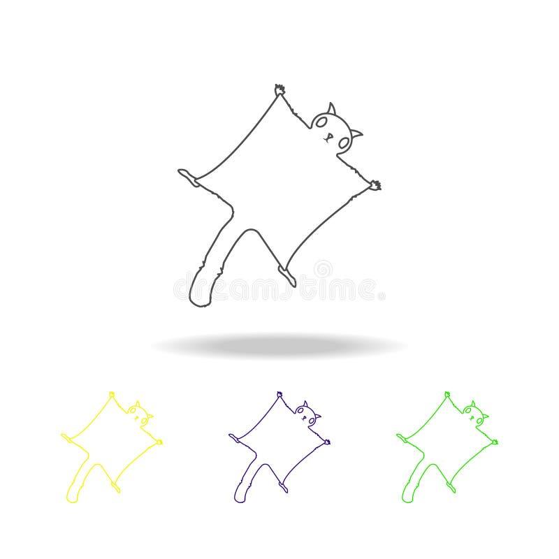 Gleithörnchen, mehrfarbige Entwurfsikonen des Nagetiers Element der Nagetierillustration Zeichen und Symbole umreißen Ikone für W stock abbildung