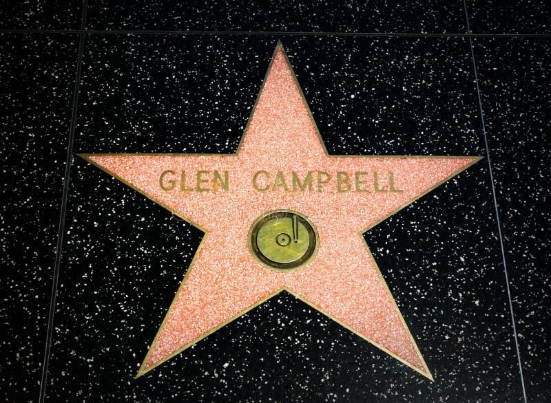 Glen Campbell Star sur la promenade de Hollywood de la renommée photographie stock libre de droits